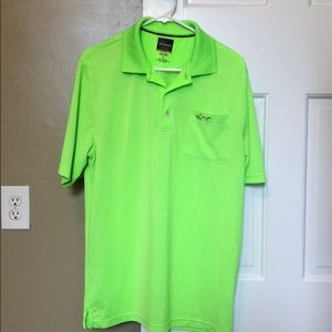 Bright Lime Green Striped Golf Shirt